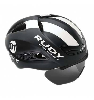 CASCO RUDY PROJECT BOOST1 BLACK - WHITE MATTE con FLIP UP shield extraible