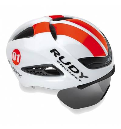 CASCO RUDY PROJECT BOOST1 WHITE - RED FLOU SHINY con FLIP UP shield extraible