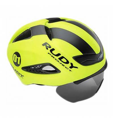 CASCO RUDY PROJECT BOOST1 YELLOW FLOU - BLACK MATTE con FLIP UP shield extraible