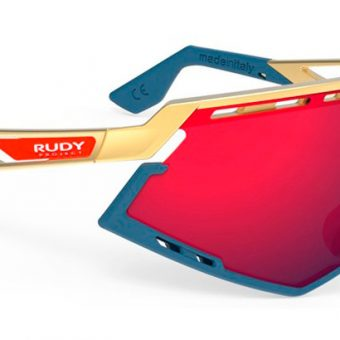 GAFAS DEFENDER GOLD MATTE BUMPERS BLUE NAVY MULTILASER RED - RUDY PROJECT